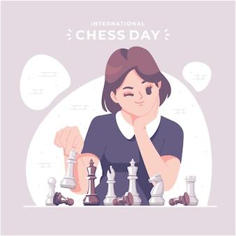 Felice giornata internazionale degli scacchi illustrazione