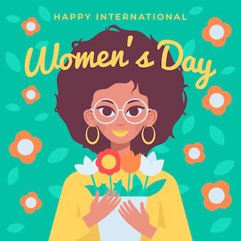 Felice giornata internazionale della donna, 8 marzo, donna afroamericana che tiene i fiori.