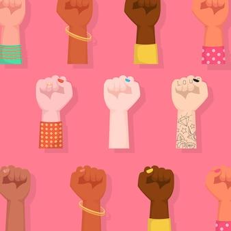 Buona giornata internazionale della donna. pugni di donna alzati abbracciando women power.