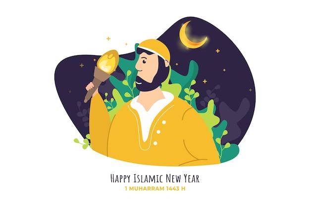 Felice anno nuovo islamico con un musulmano che tiene in mano un'illustrazione di torcia