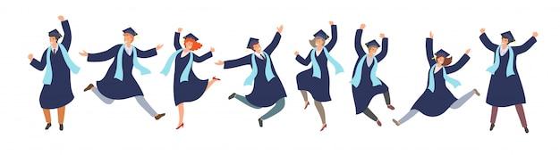 Studenti laureati jamping felici in abiti di laurea in stile cartone animato. cerimonia di laurea riuscita, concetto di educazione.