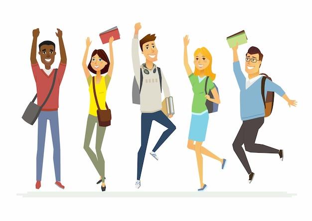 Studenti delle scuole superiori di salto felici - personaggi dei cartoni animati illustrazione isolata. ragazzi e ragazze sorridenti che tengono libri e saltano di gioia
