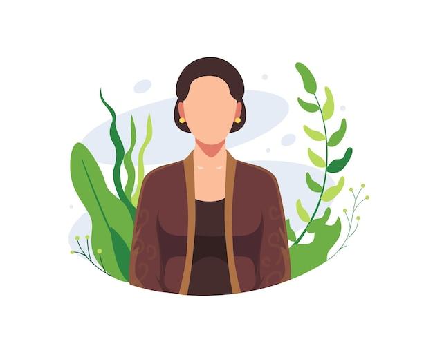 Felice giorno di kartini illustrazione. eroi femminili indonesiani, emancipazione femminile, donna coraggiosa di kartini con fiori. ra kartini gli eroi delle donne e dei diritti umani in indonesia. vector in uno stile piatto