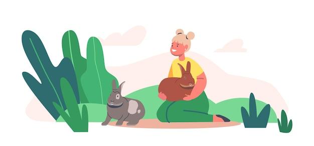 Personaggio bambino felice che gioca e nutre simpatici coniglietti nel parco dello zoo di contatto. ragazza cura degli animali, escursione al ranch o all'aia del villaggio, tempo libero estivo, tempo libero. fumetto illustrazione vettoriale