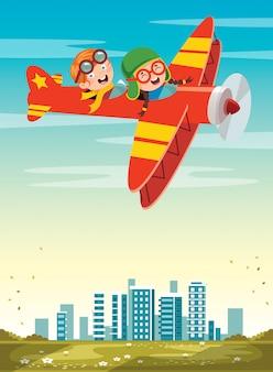 Bambino felice volare in aereo