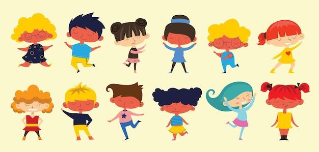 Collezione di cartoni animati per bambini felici. bambini multiculturali in diverse posizioni isolate su sfondo chiaro