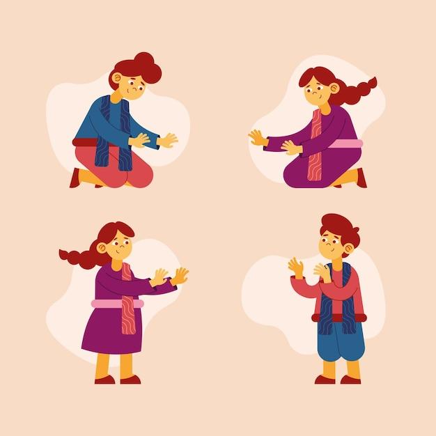 Bambini felici che celebrano il diwali