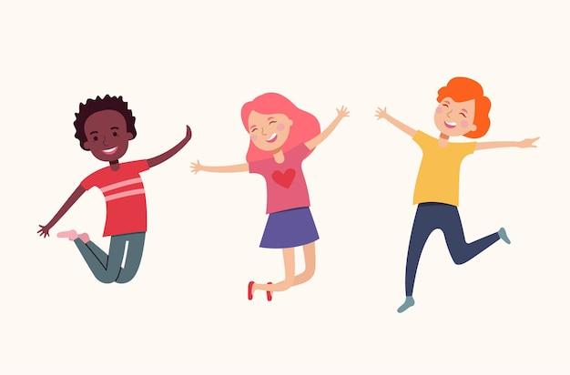 Bambini felici che saltano isolati