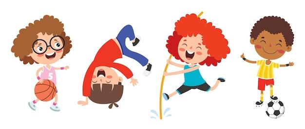 Bambini felici che fanno vari sport