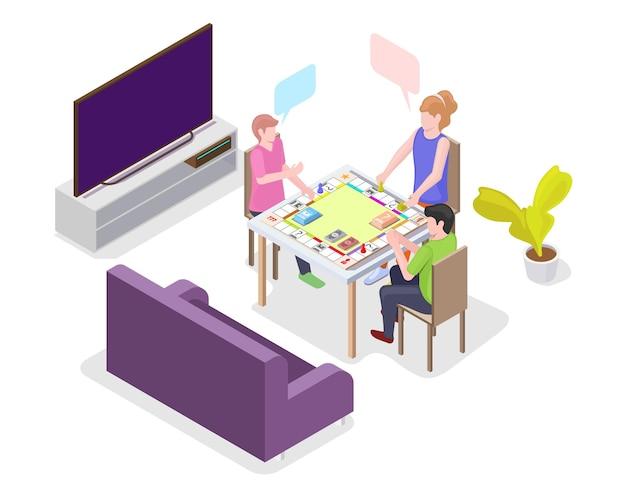 Bambini felici che giocano a un gioco da tavolo seduti al tavolo, illustrazione isometrica di vettore piatto. i bambini trascorrono del tempo insieme giocando a un gioco da tavolo. attività per il tempo libero a casa.