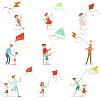 Bambini felici che corrono con l'aquilone. i genitori aiutano i bambini a gestire un aquilone, una divertente vacanza in famiglia.