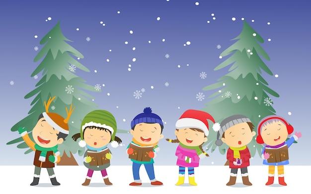 Bambini felici che cantano canti di natale Vettore Premium