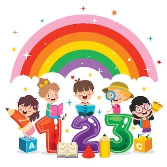 Bambini felici che studiano e imparano