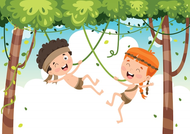 Bambini felici che oscillano con la corda della radice nella giungla