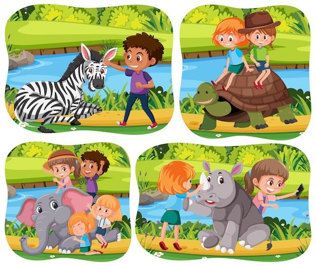 Bambini felici con animali sullo sfondo della natura