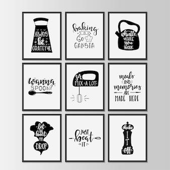 Cucina felice sul poster di tipografia disegnati a mano