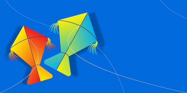 Felice giornata di volo degli aquiloni modello di illustrazione vettoriale