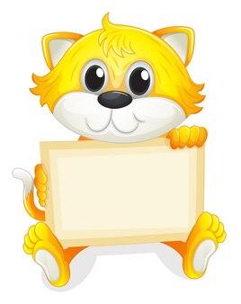 Un gattino felice con una scheda vuota