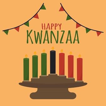 Felice kwanzaa carino semplice biglietto di auguri kinara vacanza culturale etnica di natale afroamericano