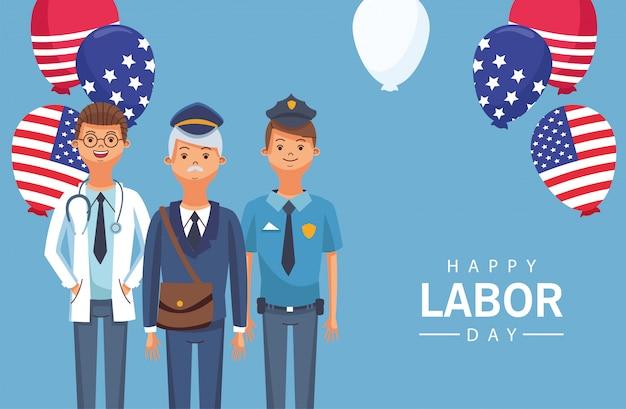 Celebrazione felice della festa del lavoro con l'illustrazione dell'elio dei palloncini dei lavoratori