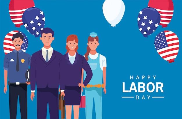 Celebrazione felice della festa del lavoro con i lavoratori palloncini elio