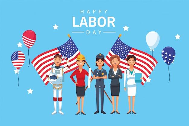 Felice festa del lavoro con i lavoratori e le bandiere