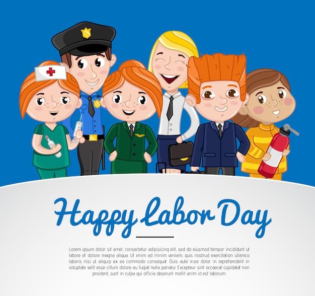 Cartolina d'auguri di felice festa del lavoro con i bambini