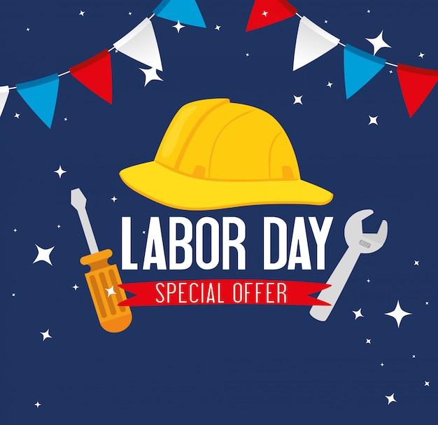 Banner festa felice festa del lavoro con protezione sicura casco e costruzione di strumenti