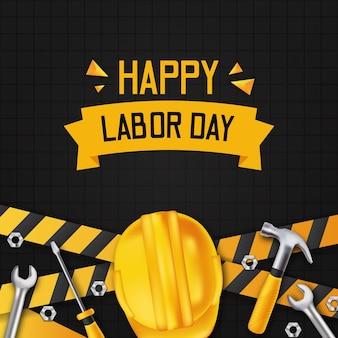 Buona festa del lavoro. giornata internazionale dei lavoratori. con costruzione a linea gialla con martello realistico 3d, casco di sicurezza, cacciavite e chiave inglese con muro nero.