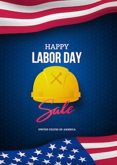 Modello di banner pubblicitario di vendita felice festa del lavoro