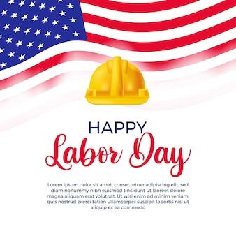 Felice festa del lavoro con casco di sicurezza e modello di celebrazione del giorno dei lavoratori della bandiera americana degli stati uniti con sfondo bianco