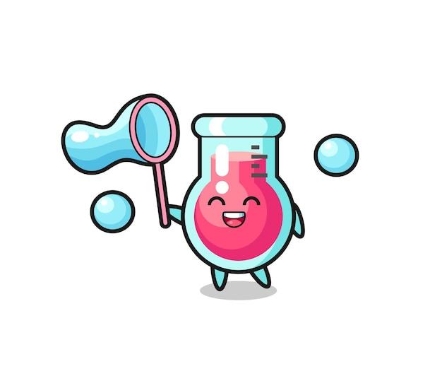 Fumetto di becher da laboratorio felice che gioca a bolle di sapone, design in stile carino per maglietta, adesivo, elemento logo