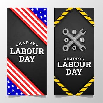 Fondo felice della festa del lavoro con la banda gialla e gli strumenti della bandiera americana