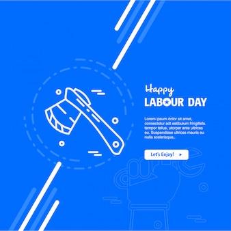 Progettazione felice di festa del lavoro con il vettore blu di tema