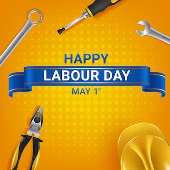 Modello di biglietto di auguri felice festa del lavoro. celebrazione della festa dei lavoratori internazionali