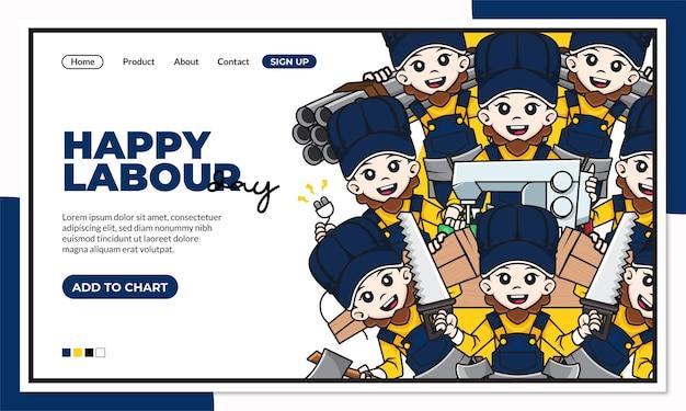 Modello di pagina di destinazione felice festa del lavoro con simpatico personaggio dei cartoni animati di castoro