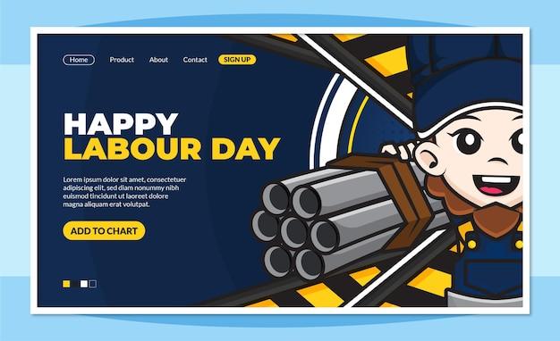 Modello di pagina di destinazione felice festa del lavoro con simpatico personaggio dei cartoni animati dei lavoratori