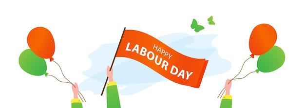Buona festa dei lavoratori 1 maggio mani con bandiera Vettore Premium
