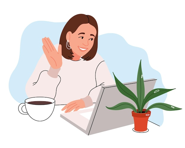 Happy lady talk da riunione di videoconferenza virtuale incontri online utilizzando la videochiamata dell'app per computer