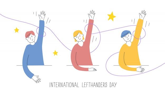 Cartolina d'auguri felice per mancini. congratulazioni al tuo amico mancino. 13 agosto, giornata internazionale dei mancini. i bambini sollevano con orgoglio la mano sinistra, il sostegno e il concetto di unità. illustrazione