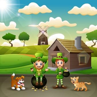 Felice leprechaun con una pentola d'oro sul paesaggio della fattoria