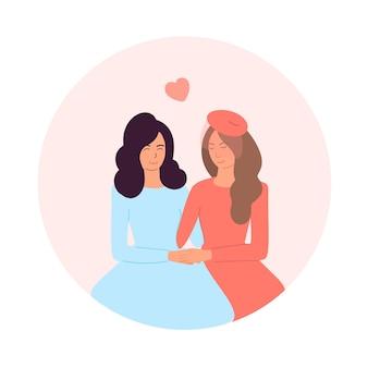 Coppia lesbica felice. sposi novelli lesbiche che tengono le mani. il concetto di lgbt, amore e uguaglianza. design per san valentino, matrimonio, biglietti di auguri. illustrazione del fumetto vettoriale