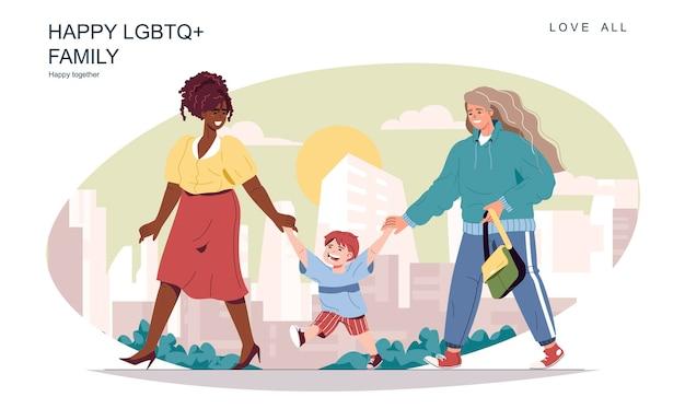 Felice concetto di famiglia lgbt madri femminili con figlio che camminano insieme per passatempo di strada