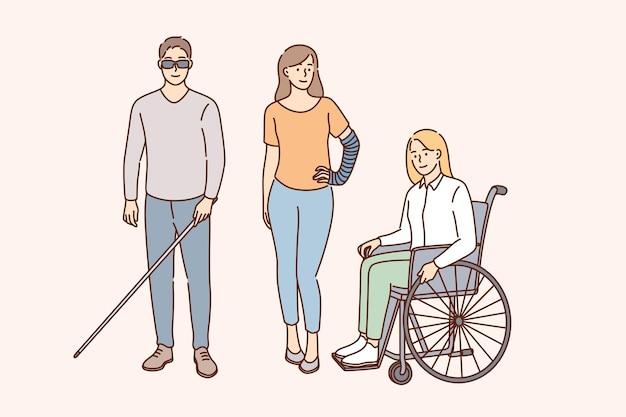 Stile di vita felice del concetto di persone disabili