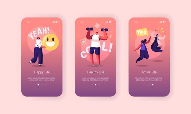 Modello di schermo a bordo pagina app mobile di stile di vita felice