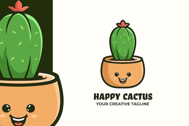 Modello mascotte logo piccolo cactus felice