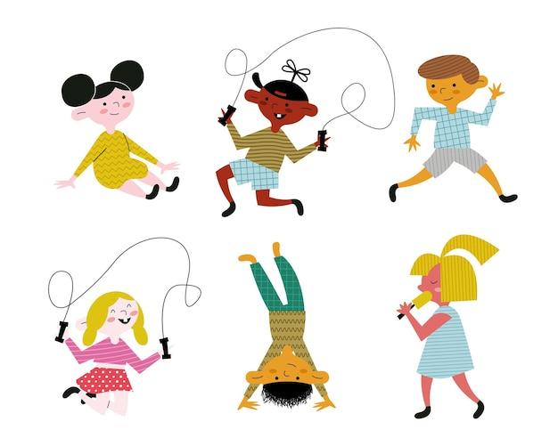 Felice piccolo sei bambini che praticano attività illustrazione dei caratteri