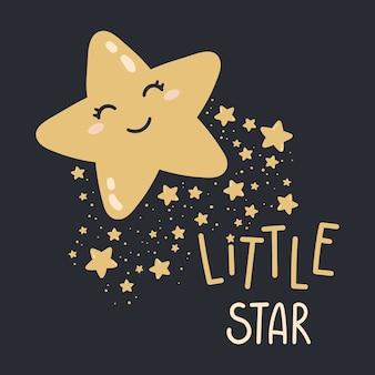 Felice piccola stella su uno sfondo scuro. illustrazione della buona notte stampa per baby room, biglietti di auguri, magliette e vestiti per bambini e neonati, abbigliamento donna.