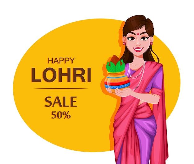 Cartolina d'auguri felice di lohri con una bella ragazza indiana