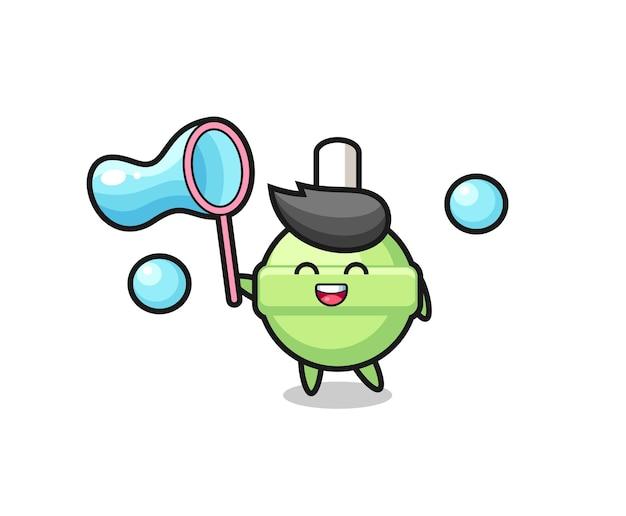 Cartone animato felice lecca-lecca che gioca a bolle di sapone, design in stile carino per maglietta, adesivo, elemento logo